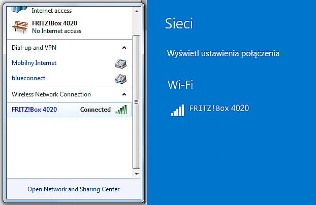Rys 9. Windows 7 - otoczenie sieci bezprzewodowej