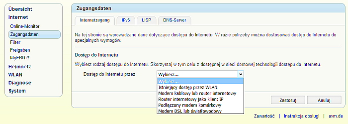 Rys 10. Typ połączenia z Internetem