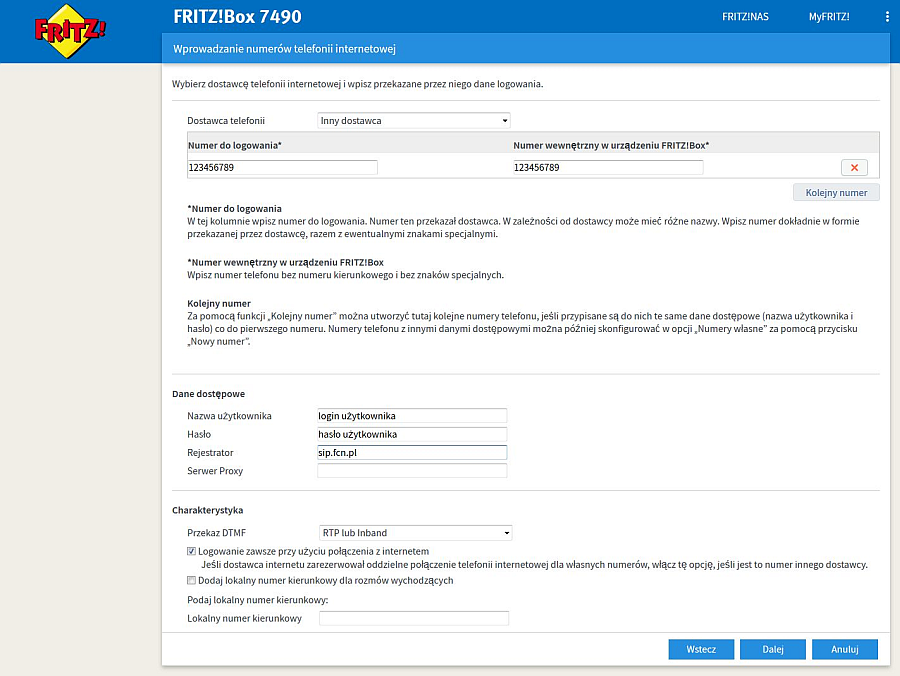 FRITZ!Box konfiguracja VoiP FCN.pl