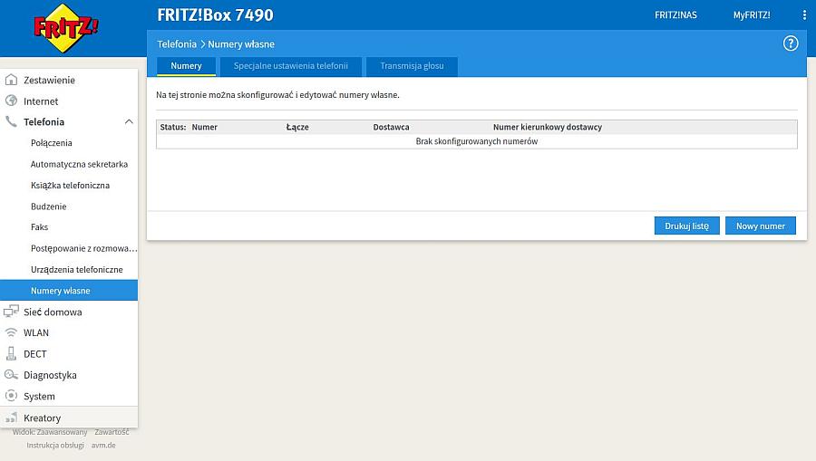 FRITZ!Box konfiguracja VoiP neofon.pl